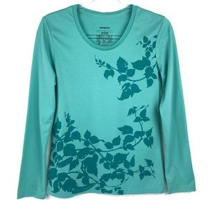 Patagonia Teal Leaf Vine Print Long Sleeve T-Shirt